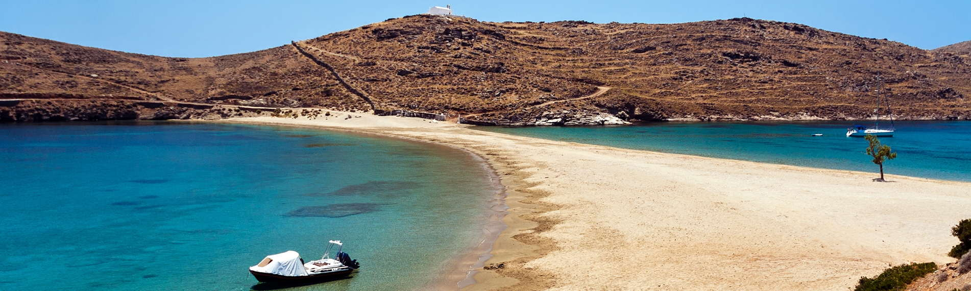 View of the beach and the beautiful sea in Kythnos, Greece