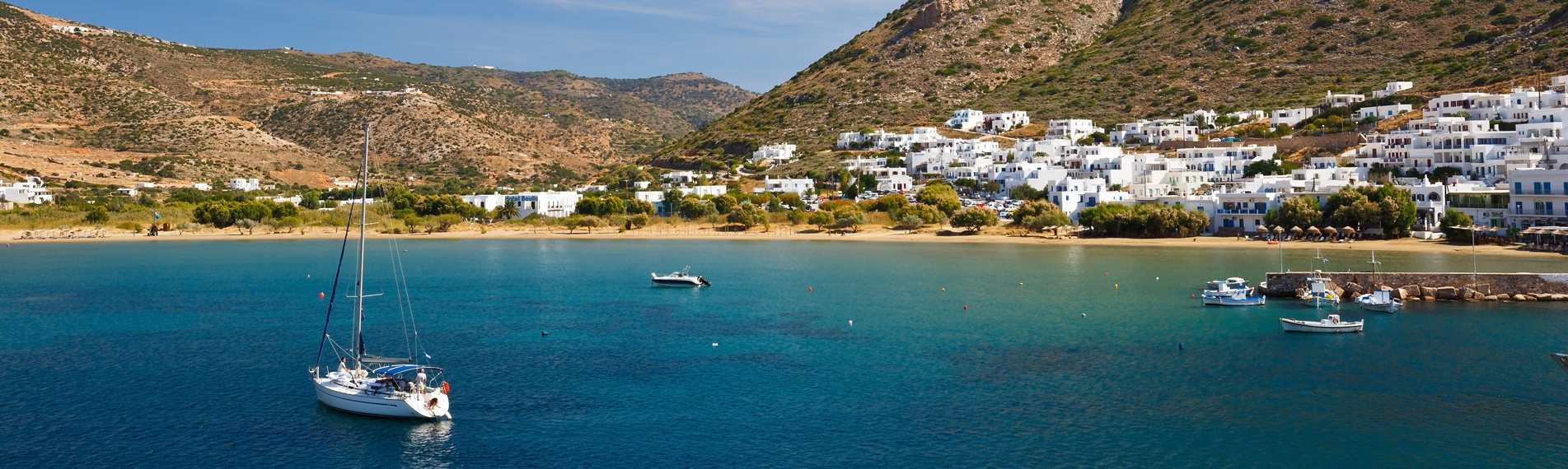 View of the houses by the coast on Sifnos in the Cyclades, Greece