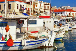 Boats docked at the port on the island of Aegina.